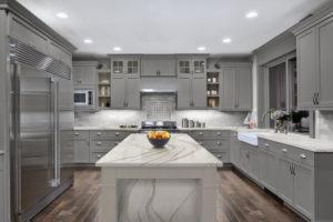St Germains-Cambria-Brittanicca-Kitchen-Grey Cabinets